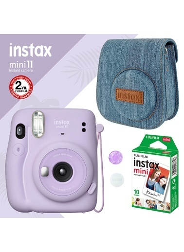 Instax Instax Mini 11 Lila Fotoğraf Makinesi Ve Jean Çantalı Hediye Seti 3 Lila